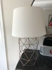 Modern Copper Large Table Lamp Bedside Light Geometric Lamp with White Shade X2