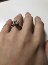 Moissanite Diamond Solitaire Platinum Engagement Ring Size 5.5