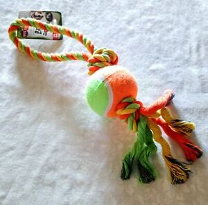Dog Rope Toy Attached Ball & Handle Tug Toy Strong Chew Orange Green Puppy Pet