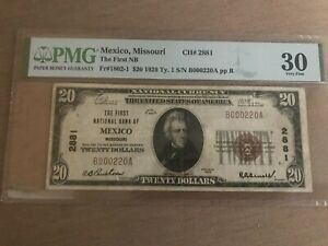 1929 $20 The First National Bank of Mexico, MO Missouri. Ch 2881 PMG 30 Ink