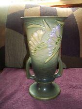 "Vintage ROSEVILLE POTTERY "" FREESIA "" Green Double Handle Flower Vase 125-10"""