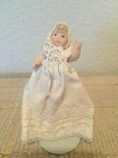 "Vintage Bisque 2.5"" Miniature Dollhouse Baby Doll in Christening Gown 4.5"""