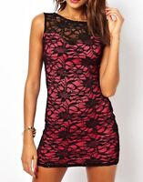 Lipsy Bodycon Dress 12 Lace Black Pink Sexy Sequin Party Sleeveless Summer Sexy