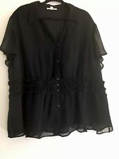 JM Colection Ruffled Blouse In Black Size 24W