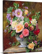 Roses, pansies and other flowers in a Canvas Wall Art Print, Rose Home Decor