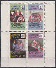 W BERNERA 007-10 MS NON POSTAL GIRL GUIDES RED OVPT ON QUEEN ELIZABETH P MS