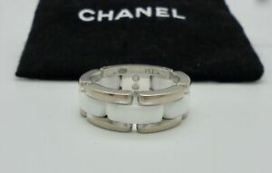 Authentic Chanel Ultra White Ceramic 18k White Gold Ring 51 & Receipt RRP$3,800