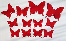 Wall Decoration Stickers 3D 12 X Red Plastic Butterfly Wall Decoration Stickers
