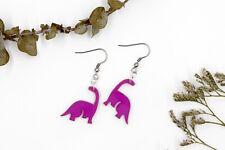 Magenta / Purple Dinosaur Earrings - Novelty Earrings