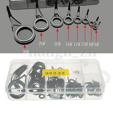75Pcs 8 Size Rod Guide Tips Anneau Rings Pour Canne à Pêche oeillet Réparation