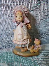 """Anri Sarah Kay Playtime Wood Carved 4"""" Figurine Girl Pulling Her Doll in Wagon"""