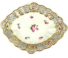 ANTIQUE PORCELAIN LOBED LOZENGE DISH PAINTED WITH ROSES CHELSEA DERBY