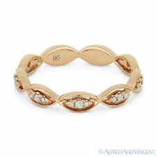 Fashion Ring in 14k Rose Gold 0.13ct Round Cut Diamond Right-Hand Band Stackable
