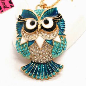 Hot Betsey Johnson Blue Enamel Cute Owl Crystal Animal Pendant  Chain Necklace