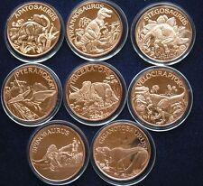 8 Dinosarier Copper Round 8 x 1 Oz Kupfer Medaille  Tyrannosaurus Stegosaurus