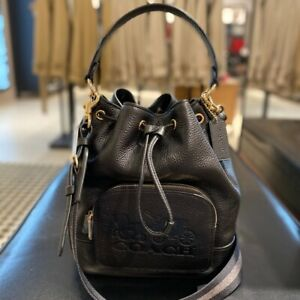 ❤️NWT JES DRAWSTRING BUCKET BAG WITH HORSE AND CARRIAGE COACH 1898 IM/BLACK $378