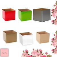 25 GIFT BOX POSY BOXES flowers hampers no lid red green silver gold kraft white