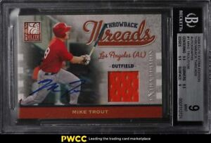 2009 Donruss Elite Extra Edition Throwback Mike Trout RC PATCH AUTO /100 BGS 9