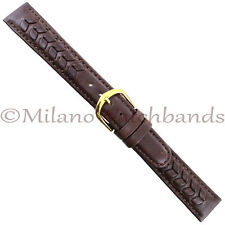 16mm Speidel Brown Flower Leaf Patterned Padded Genuine Leather Round Edge Band