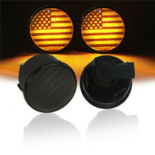 Pair LED Amber Turn Signal Light USA Flag for 2007-2018 Jeep Wrangler JK -2 Pcs