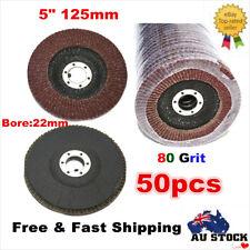 50Pcs 5'' 125MM Abrasive Metal Sanding Flap Discs Angle Grinder Wheels 80 Grits