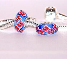 925 argento Sterling Single Core MURANO glass bead / Charm / BLU CON FIORI ROSSO