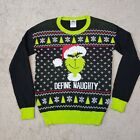 Grinch Sweater Women L DEFINE NAUGHTY Ugly Christmas Black Green Pullover Knit