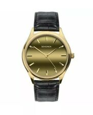 Sekonda Original Men's Gold Dial Leather Strap Watch 1536 New With Box