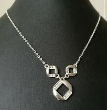 "SILVER CRYSTAL NECKLACE AVON SAQ EXCELLENT SPARKLY CONDITION 16"" + 3"" extension"