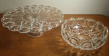 Crystal Cake Stand & Matching Bowl GORGEOUS! Early Century?