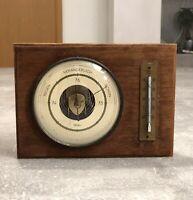 Vintage Fischer Wetterstation Barometer & Thermometer Holz, Messing - 50er 60er