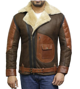 Tailor Made Men's Genuine Two Tone Sheepskin Leather Classic Belted Style Jacket