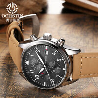 OCHSTIN GQ043B Men Strap Leather Casual Chronograph Watch Quartz Wrist Watch