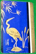 Playing Cards 1 Single Swap Card Old Vintage LACQUER Style CRANE BIRD Bulrushes
