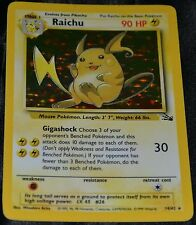 Holo Foil Raichu # 14/62 Original Fossil Set Pokemon Trading Cards Rares SP