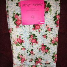 BETSEY JOHNSON Ultra Soft Plush Throw Blanket Pink Roses on Aqua Blue Leopard