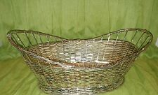 OVAL SILVER BREAD BASKET WOVEN UNKNOWN TYPE OF METAL DECOR ORGANIZING DURABLE