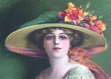 C ALLAN GILBERT Victorian Art Print Flapper Roses With Hat - Elegant & Classy
