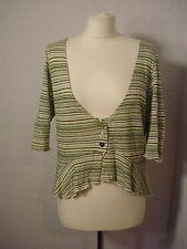 Per Una green & white striped fluted hem cardigan 18