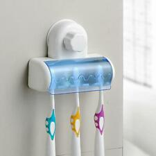 Easy Toothbrush Suction Cups Holder Stand 5 Racks Home Bathroom Wall Mount