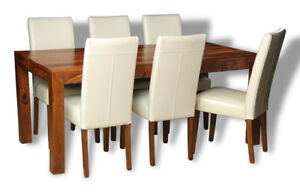 SHEESHAM FURNITURE CUBA DINING TABLE & 6 CREAM LEATHER CHAIRS (C19&6A4D)