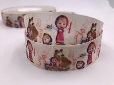 DIY 5 Yard 1'' Martha and Bears Printed Grosgrain Ribbon Hair Bow Sewing Ribbon