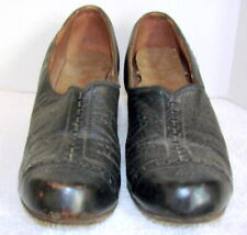Vintage 1930s Womens Black Smooth Leather Shoes
