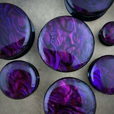Pair of Black Acrylic Embedded Purple Abalone Plugs gauges 8g through 1 inch