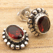 Real GARNET Gems Designer Small Oval HANDCRAFTED Earrings Red, 925 Silver Filled