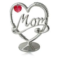 Silver Plated Crystal Studded Mom Heart Ornament w/Red Crystals by Matashi