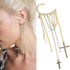 1x Cool Rock Punk Cross Shape Nice Long Tassels Ear Cuff Earrings Chain Eardrop