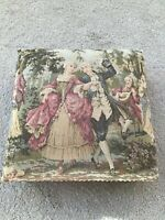"""Vintage FRENCH VICTORIAN 14"""" Square FOOT STOOL Rest Tapestry Ottoman ~Beautiful!"""