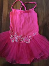 girls FANCY LEOTARD pink TULLE TUTU roses sequin BALLET full skirt LARGE size 4T