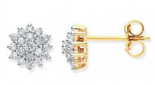 9CT HALLMARKED YELLOW GOLD 0.50CT G/H SI1 DIAMOND 9MM CLUSTER STUD EARRINGS